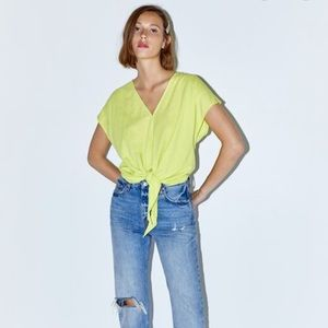Zara Lime Green Front Tie V-Neck Top